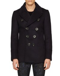 Burberry Neoprene Bonded Wool Cashmere Pea Coat Navy