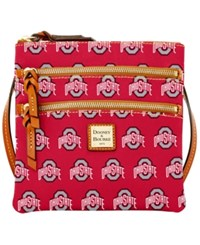 Dooney And Bourke Ohio State Buckeyes Ncaa Triple Zip Crossbody Bag Red Brown
