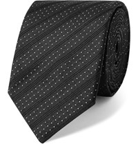 Dolce And Gabbana 6Cm Striped Polka Dot Silk Jacquard Tie Blue