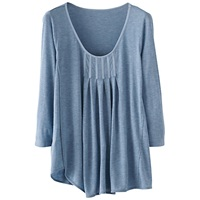 Poetry Box Pleats Jersey Top Soft Blue