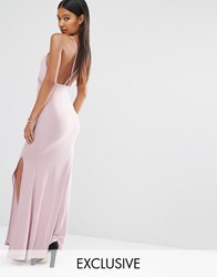 Club L Slinky Wrap Over Maxi Dress With Cross Back Pastel Lilac Pink
