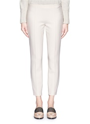 The Row 'Chandra' Seam Front Stretch Scuba Cropped Pants White Neutral