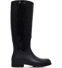 Saint Laurent Festival Sequin Rubber Rain Boots Black