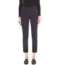 Whistles Sadie Slim Fit Mid Rise Stretch Cotton Trousers Navy