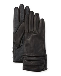 Ugg Ruched Leather Tech Gloves Black