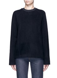 Acne Studios 'Cassie' Jersey Collar Felted Wool Blend Sweatshirt Blue