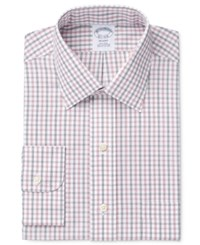 Brooks Brothers Men's Regent Classic Regular Fit Non Iron Red Checked Dress Shirt Triple Shadow Check Red