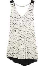 Sonia Rykiel Pleated Printed Crepe Mini Dress White