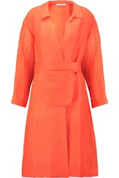 Emilia Wickstead Madge Crinkled Stretch Silk Blend Coat Orange