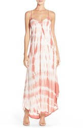 Women's Fraiche By J Tie Dye A Line Maxi Dress Stripe Dye Dusty Lilac