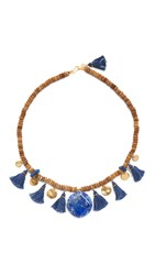 Chan Luu Felix Tassel Necklace Blue Mix