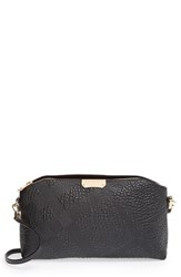 Burberry 'Small Chichester' Check Embossed Leather Crossbody Bag Black