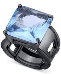 T Tahari T Taharo Hematite Tone Blue Crystal Cocktail Stretch Ring