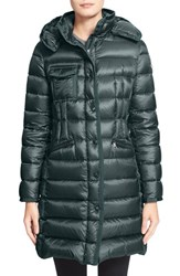Women's Moncler 'Hermine' Grosgrain Trim Water Resistant Hooded Down Coat Forest