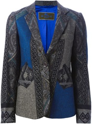 Etro Tribal Print Blazer Grey