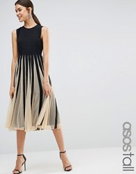 Asos Tall Mesh Fit And Flare Midi Dress Mono Multi