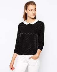 Mango Jacquard Bow White Collar Shell Top Black