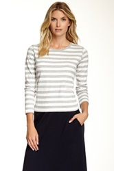 Joan Vass Long Sleeves Striped Tee Gray