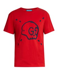 Guccighost Print Cotton Jersey T Shirt Red
