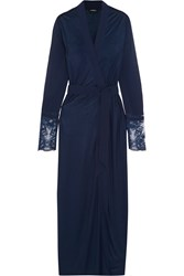 La Perla Whisper Leavers Lace Paneled Stretch Jersey And Silk Georgette Robe