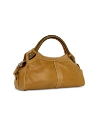 Buti Faux Wooden Handle Leather Satchel Bag Tan
