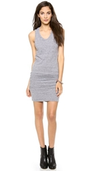 Monrow Sleeveless Shirred Dress Granite