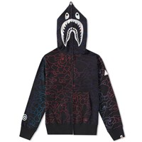 A Bathing Ape Pencil Neon Camo Shark Full Zip Hoody Black