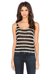 Bella Luxx Mesh Stripe Tank Black