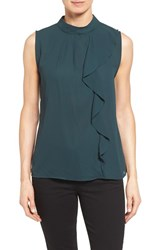 Bobeau Women's Sleeveless Ruffle Front Blouse Dark Green