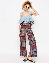 Chichia X Asos Africa High Waisted Wide Leg Trouser In Tile Print Multi
