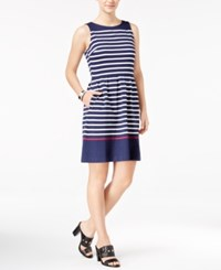 Tommy Hilfiger Amber Striped Fit And Flare Dress Navy White