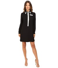 Red Valentino Crepe With Satin Black Ivory Women's Dress