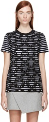 Mother Of Pearl Navy And White Striped Appliqua Joshua T Shirt