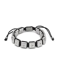 King Baby Studio Square Star Beaded Bracelet Silver Black