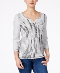 Karen Scott Printed Three Quarter Sleeve Top Only At Macy's Pale Grey Heather