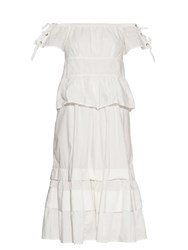 Rebecca Taylor Off The Shoulder Stretch Cotton Blend Dress White