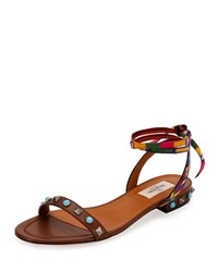 Valentino Rockstud Rolling Embroidered Flat Sandal Light Brown