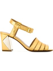 Tory Burch Block Heel 'Bellman' Sandals Metallic