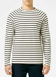 Topman Off White And Black Stripe Long Sleeve T Shirt