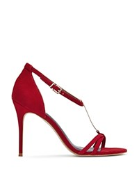 Reiss Ariana Metal T Bar Open Toe Sandals Red