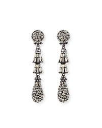 Crystal Deco Teardrop Earrings Gunmetal Jose And Maria Barrera