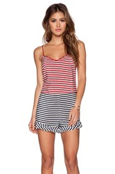 Red Valentino Striped Silk Romper Red