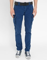 Schott Nyc Indigo Cargo Washed Trousers Blue