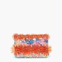 J.Crew Embellished Floral Clutch In Vinyl Orange Pacific
