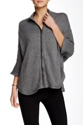 Love Token Luke Cable Knit Faux Leather Trim Cardigan Gray