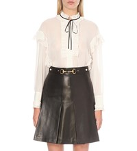 Gucci Ruffled Cotton And Silk Blend Voile Shirt Wht Blk