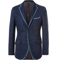 Etro Navy Slim Fit Contrast Trimmed Cotton Blend Blazer Blue