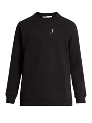 Givenchy Leather Cross Embroidered Cotton Sweatshirt Black