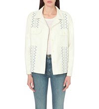 The Great Army Embroidered Denim Jacket White