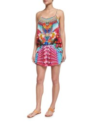 Camilla Printed Beaded Short Romper Coverup The Free